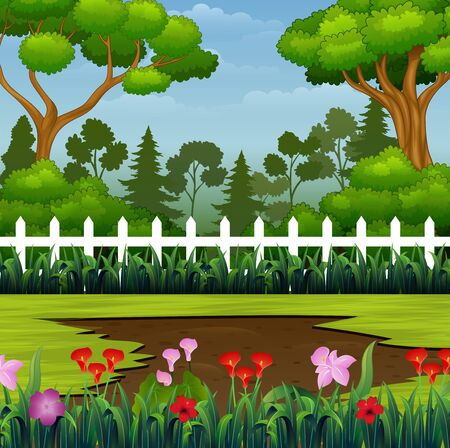 Beautiful park with muddy puddle on the ground Illustration