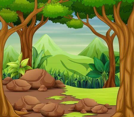 Scena leśna z drzewami i pięknym tłem krajobrazu