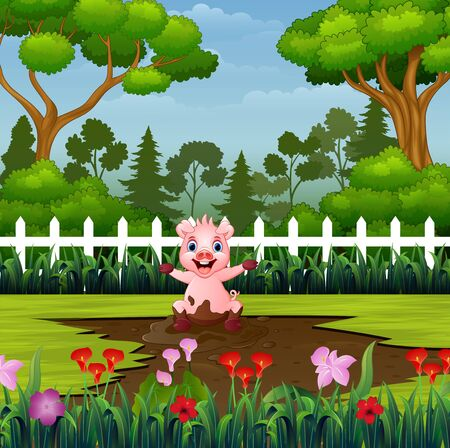 Little pigs playing a mud puddle in the park Illustration