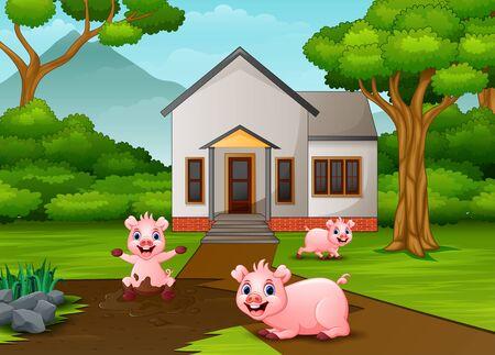 Cerdos divertidos jugando un charco de barro en frente de la casa Ilustración de vector