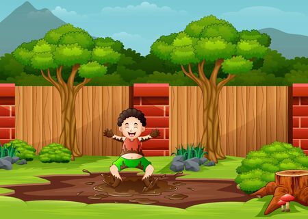 A young boy playing in a mud puddle Vetores