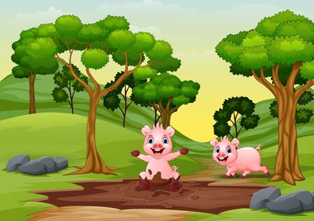 Happy smiling pigs are playing in the mud