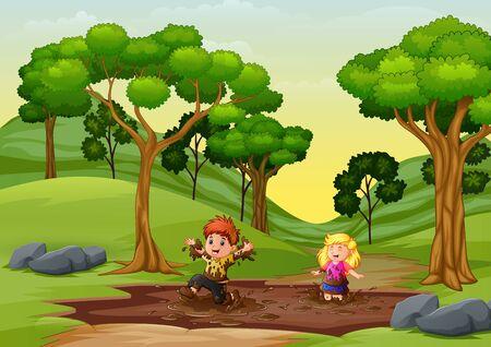 Niños felices jugando en un charco de barro en la naturaleza. Ilustración de vector