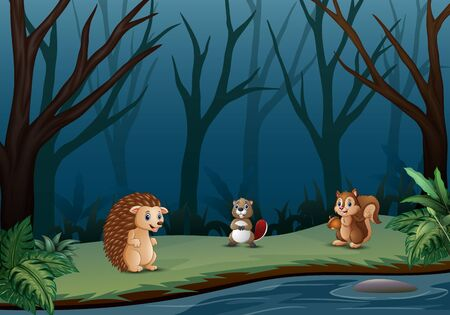 Wild animals living in the dry forest Illustration