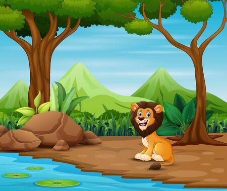 Beängstigender Löwe-Cartoon, der im Wald lebt