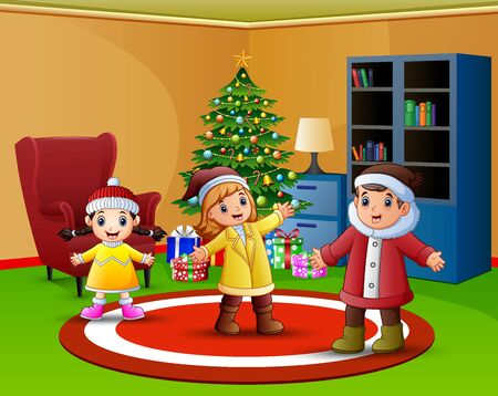 Cartoon of Happy kids in the living room with christmas tree