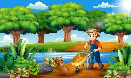 Farming activities on the park with animals