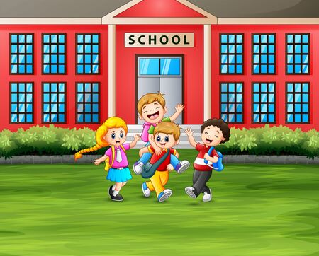 Back to school concept the students with backpacks in front of School Building Illustration