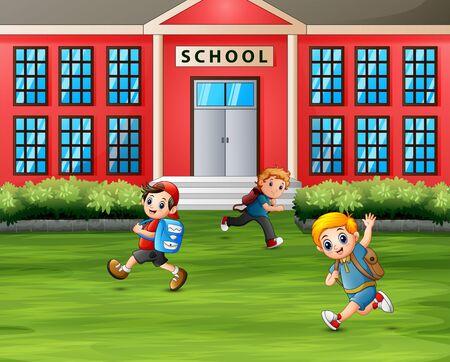 Boys running in front of the school Vector Illustratie
