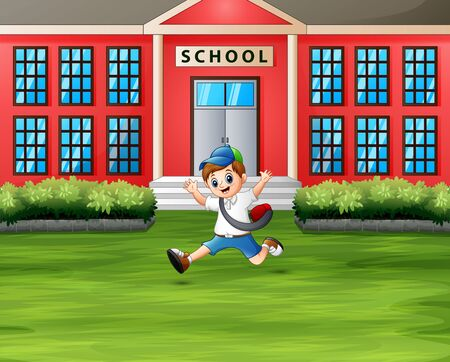 A boy jumping in front the school building