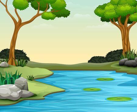 Lo sfondo della scena della natura con lago e loto Vettoriali