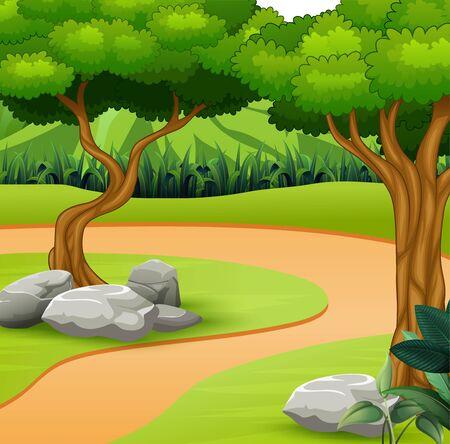 Un camino de tierra en el fondo de la naturaleza.