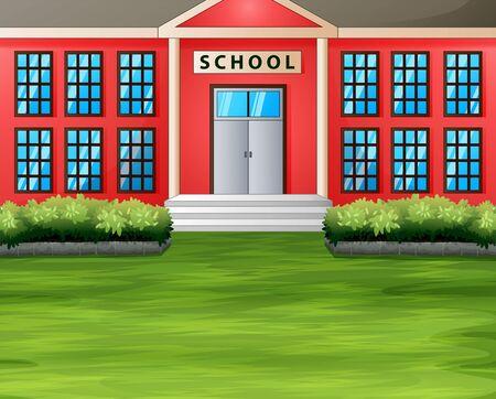 Cartoon a school building with green lawn