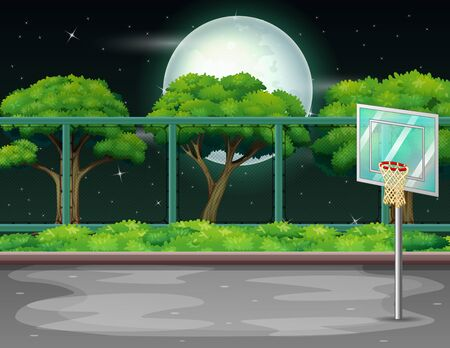 Cartoon background with basketball court in nature