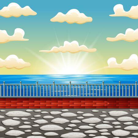 Background cartoon a beautiful sunrise sea scene