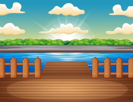 Wooden pier overlooking the lake at sunrise