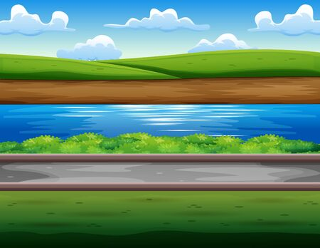 Green field in the riverside Ilustração