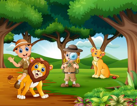 Cartoon of two boy explorer with animals in the jungle Banco de Imagens - 130121278
