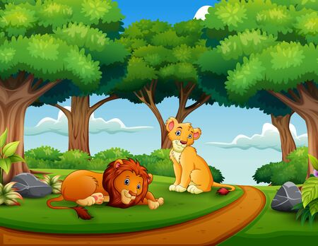 Cartoon of lion couple in the jungle