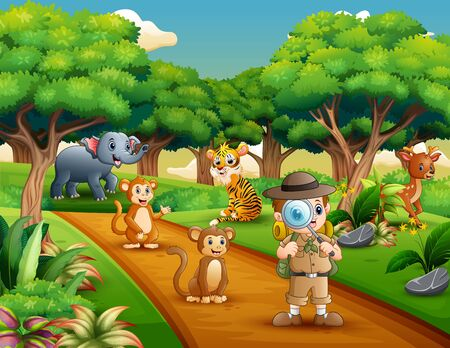 Boy explorer with magnifying glass in the jungle