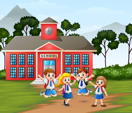 Happy children with backpack on school building background