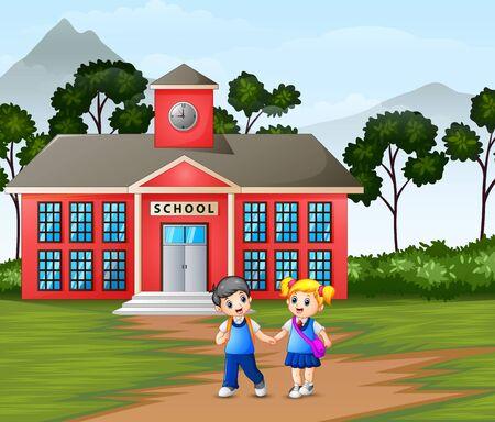 Children walking in front of the school building Vektorové ilustrace