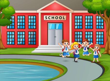 Happy children in uniform with backpack going to school Illustration