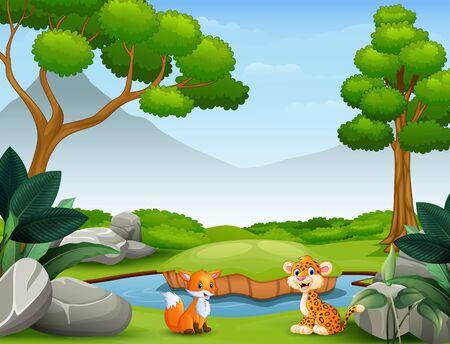 Animals cartoon living in the wild nature