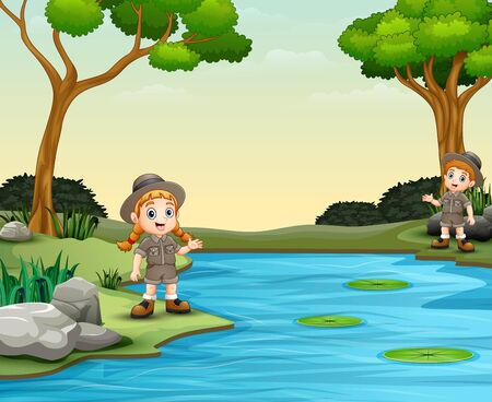 Scout boy and girl talking by the river  イラスト・ベクター素材