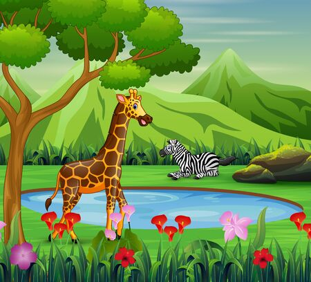 Cartoon zebra and giraffe living near watering hole Ilustração