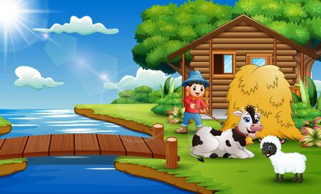 Cartoon of farmer activity in the beautiful park