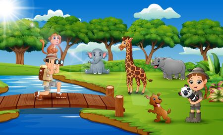 Cartoon of zookeeper boy and girl with animal in the jungle Imagens