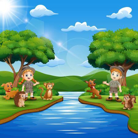 Caricature d'un garçon et d'une fille de gardien de zoo avec un animal au bord de la rivière