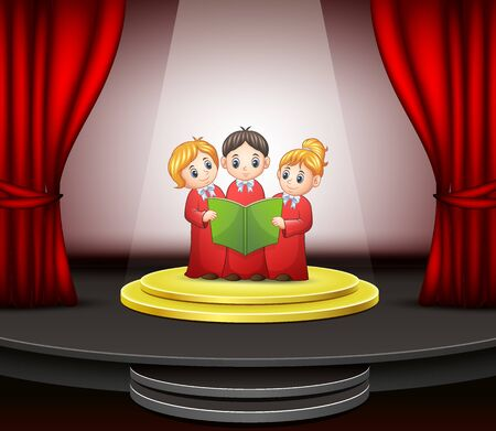 Cartoon of Children choir performing on the stage Stock Photo