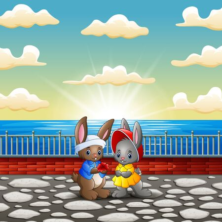 Couple rabbit cartoon in the riverbank with sunset background