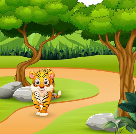 Wild scary tiger walking in the jungle Vettoriali