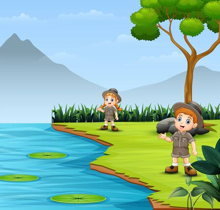 Scout kids talking and exploring in nature landscape