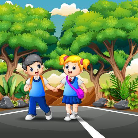 Happy student walking and going to school Vector Illustratie