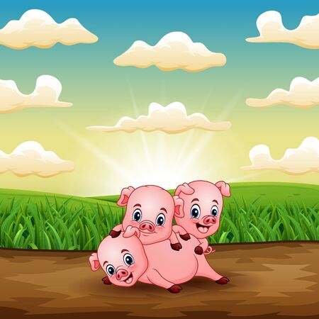 Cartoon three little pigs playing on field in sunrise