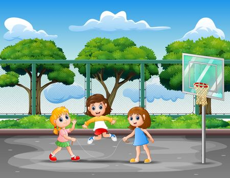 Girls playing jumping rope in the basketball court Ilustração