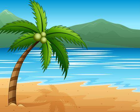 Beautiful seascape seaside with mountain and coconut trees Ilustração