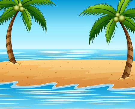 Summer beach and coconut trees background