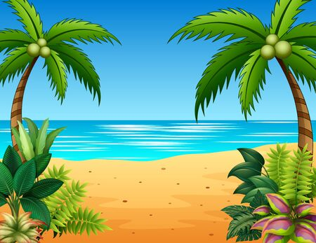 Beautiful landscape of the sea with plants on seaside