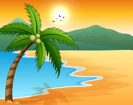 Beautiful seascape seaside with mountain and sunset Ilustração