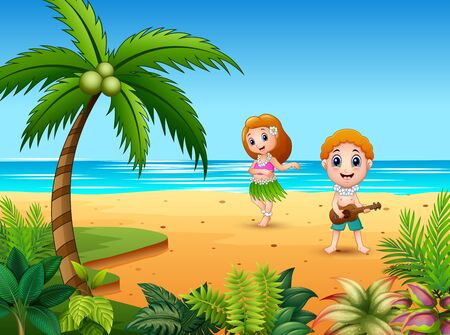 Boy playing guitar and hawaiian girl hula dancing at the seaside Иллюстрация