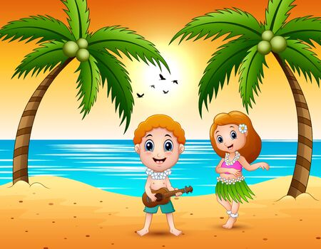 Boy playing guitar and hawaiian girl hula dancing at the beach