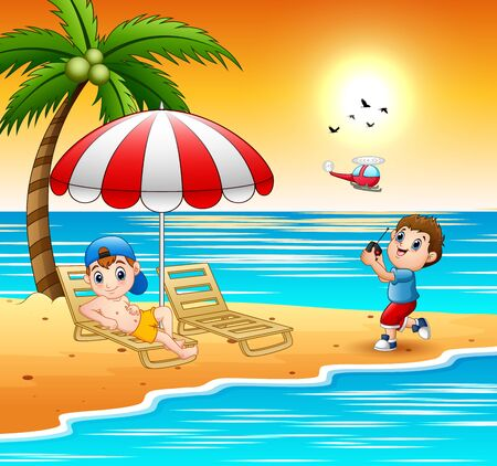 Happy boys playing in the beach Illustration