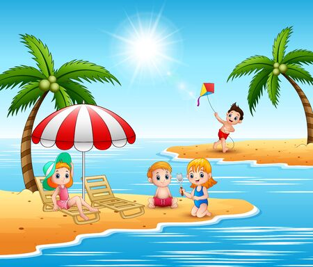 Summer holiday children in the beach Illustration