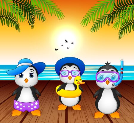 Cartoon summer penguins at the beach Ilustração