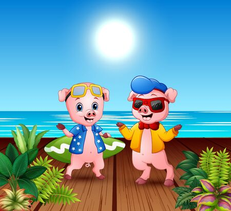 Cute cartoon pigs in summer holiday Illusztráció